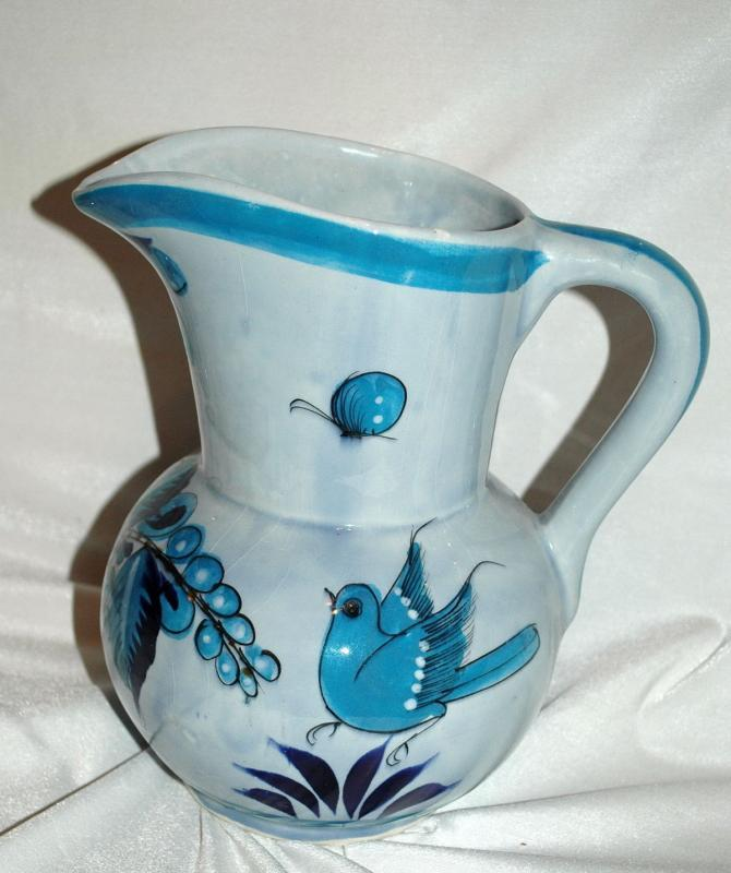 Large Jalisco TONALA MEXICO POTTERY SIGNED BLUE BIRD PITCHER BUTTERFLY FLOWERS