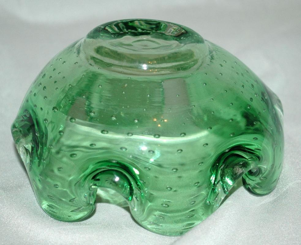Murano Blown Controlled Bubble Bowl  with Undulated Rim