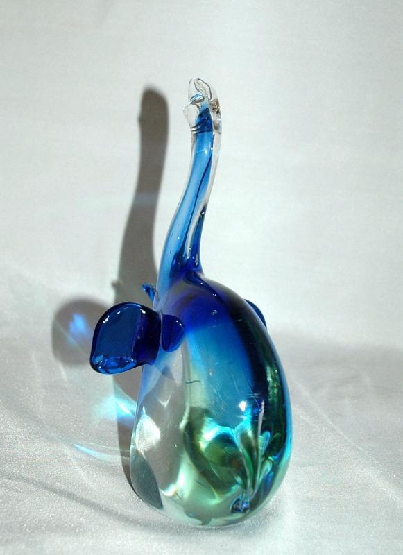 Murano Blown Art Glass Elephant Sculpture  Blue Green ,8