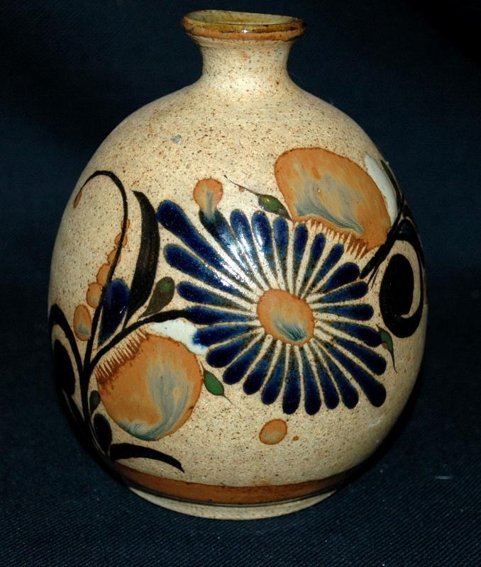 Folk Art Tonala Stoneware with Enameled Flowers  Bud Vase