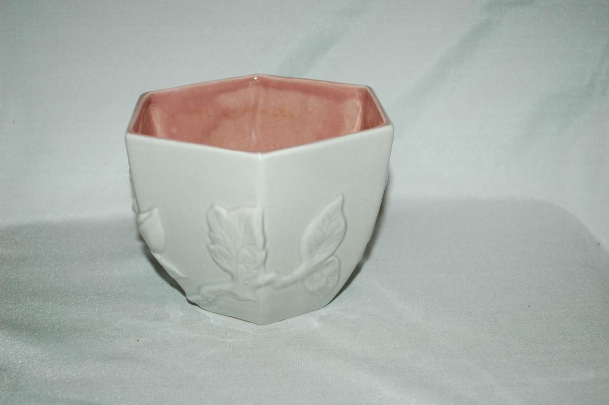 Red Wing Pottery Grey Pink Planter Hexagonal with Flower and leaves