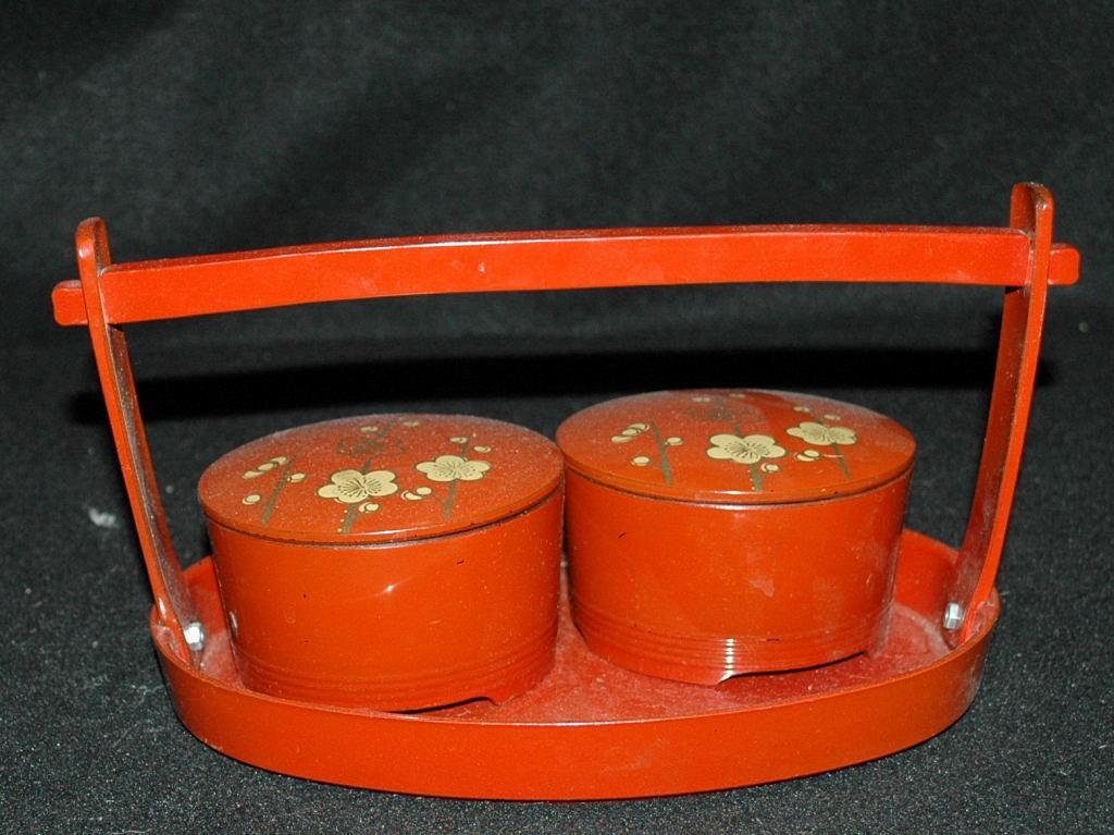 Asian  Wood Lacquer-Ware Tea Set / 2 lidded bowls with carrying tray