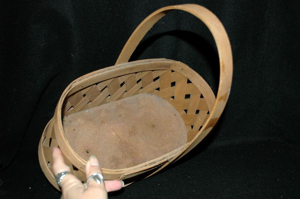 Vintage Splint Oak, Bent Wood Basket