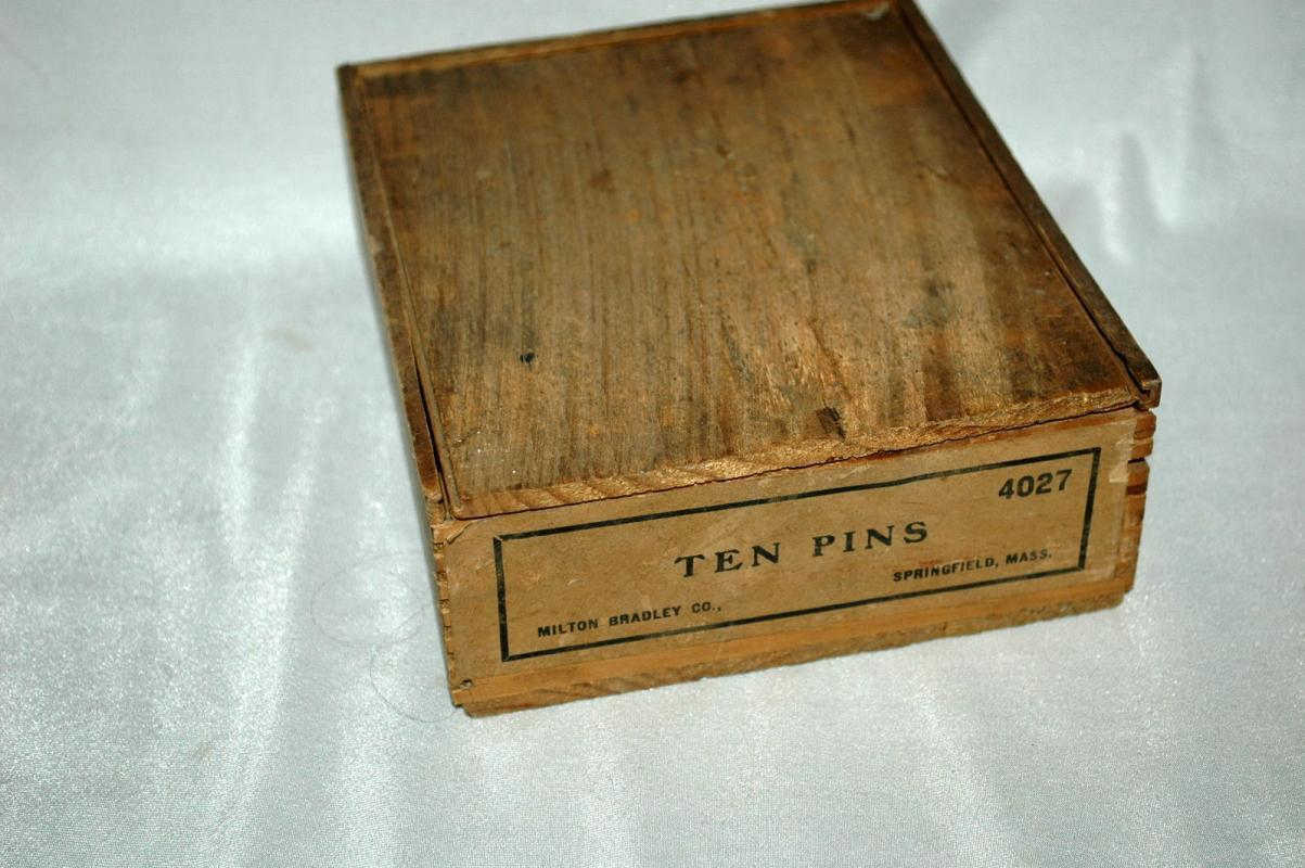 Milton Bradley  Co. Ten Pins Wooden Miniature Bowling Game Complete in  Box