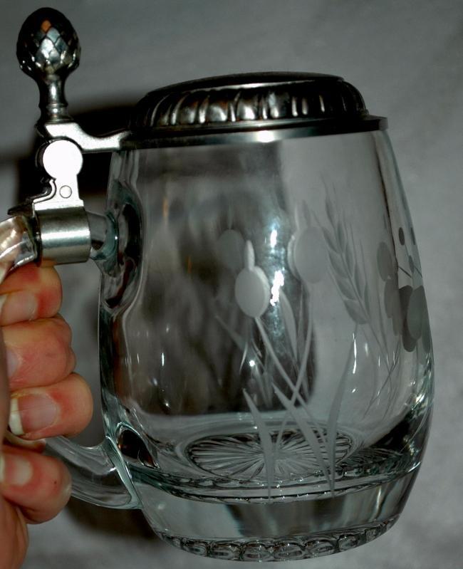 Etched Crystal German Beer Mug Stein  marked 92% BMF-ZINN West Germany