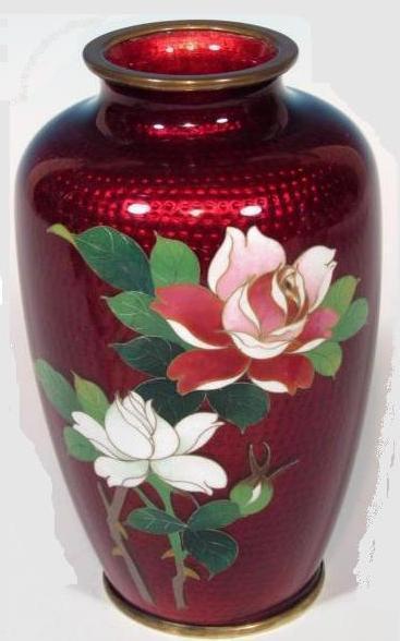 Japanese Ginbari Cloisonne Ando Sato Pigeon Blood Roses Vase