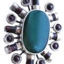 Huge Irish Celtic  Sterling Silver , Garnet,  Green Agate  Medallion Pendant