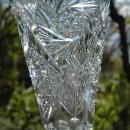 Hand Cut Crystal Tall Stemmed Fluted  Vase , BUZZ STAR, HOBSTAR, CROSS CUT DIAMOND, SAW TOOTH SCALLOPED RIM 10.25