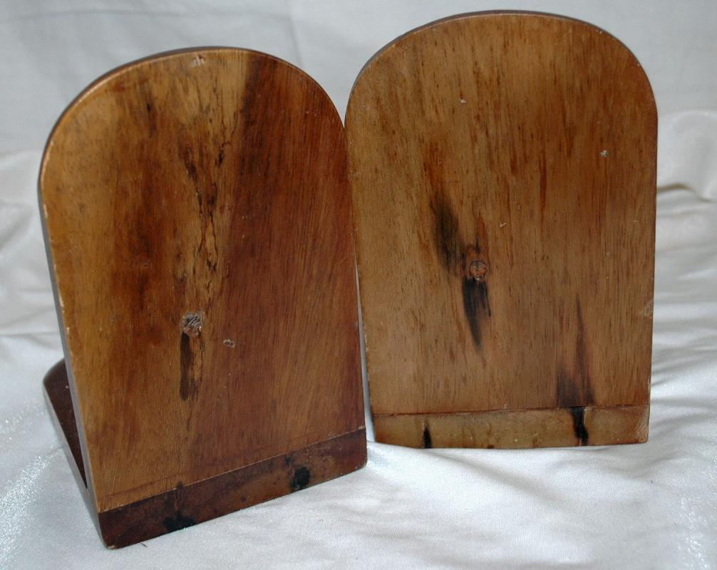 Wood Pulley  Rope Bookends  / old hand crafted