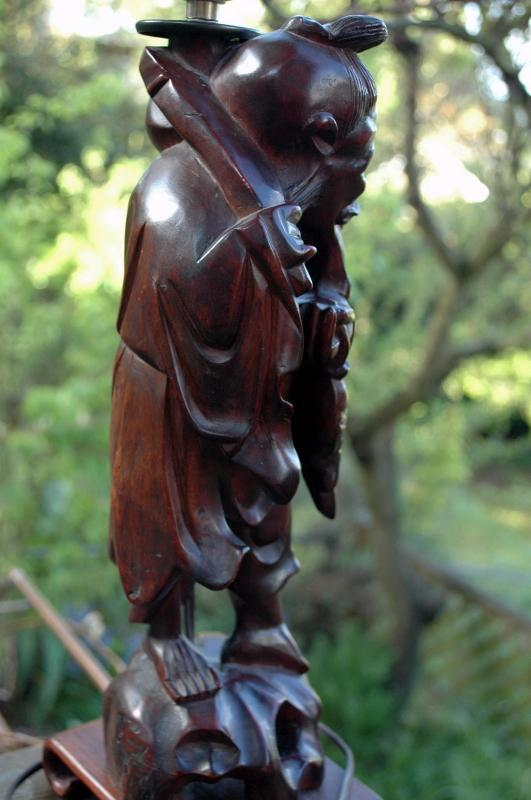 Chinese Immortal Root Wood Carved Table Lamp