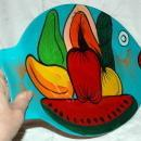 Mexican Folk Art Talavera Pottery Fish Platter Hand Crafted Wall Plate Brilliant Colorful Fruits