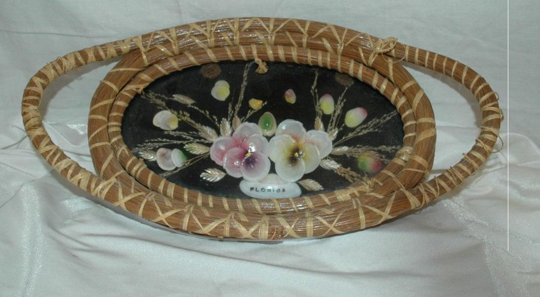 Hand Woven Pine Basket Shells under Glass Tray/ Florida Souvenir