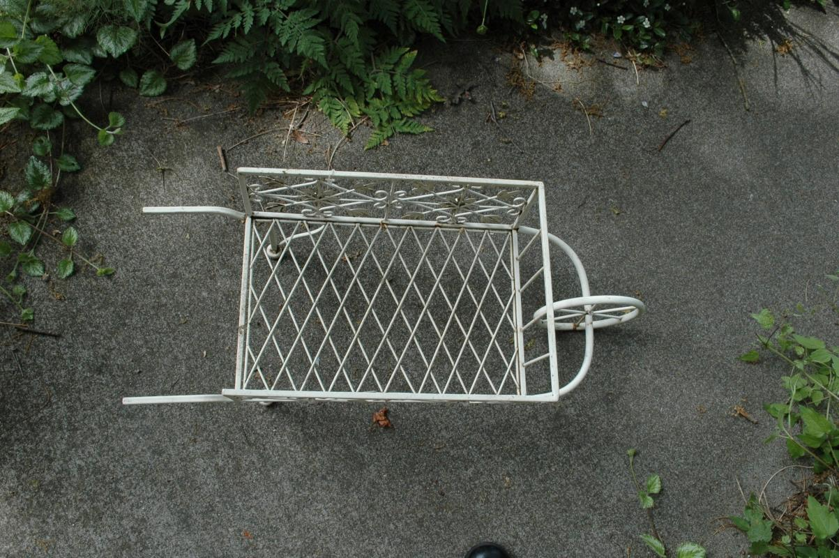White Painted  Metal Flower Cart Plant Stand Decorative Garden Piece.