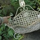 Vintage White Painted  Metal Framed  Woven  Basket with Handle