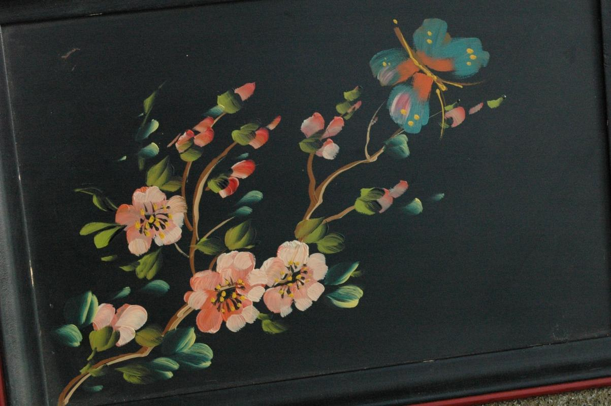 Wood Tray, Hand painted with flower and butterfly