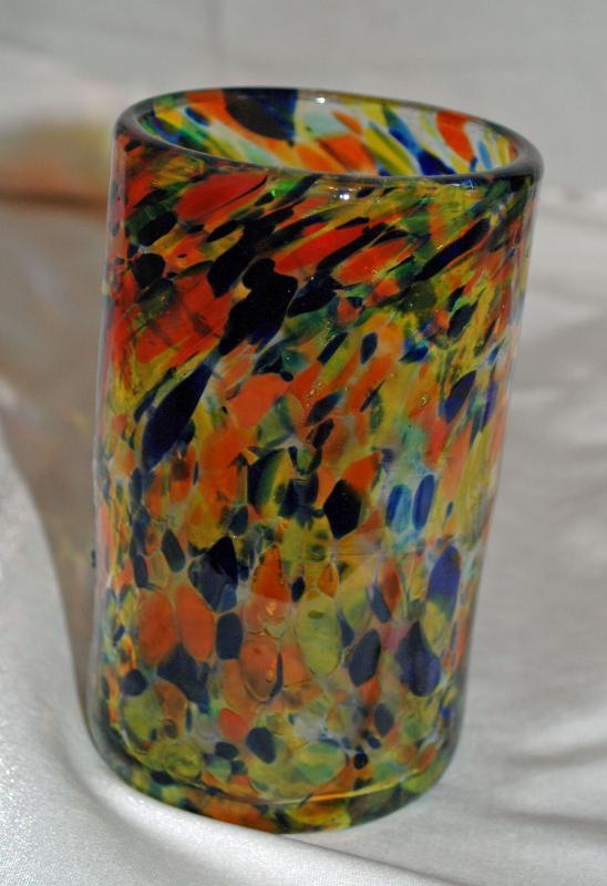 Mexican Hand Blown Art Glass Confetti  Tumbler Glass