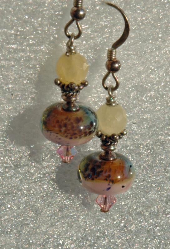 Venetian Art Glass Paperweight Lampwork Bead Earring & Sterling Silver