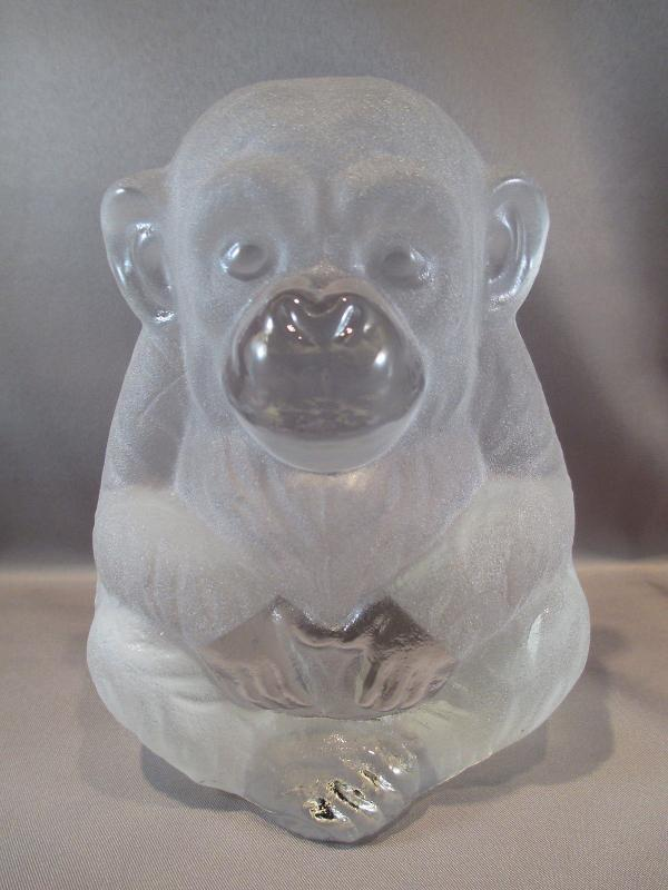 Viking glass monkey Chimpanzee paperweight
