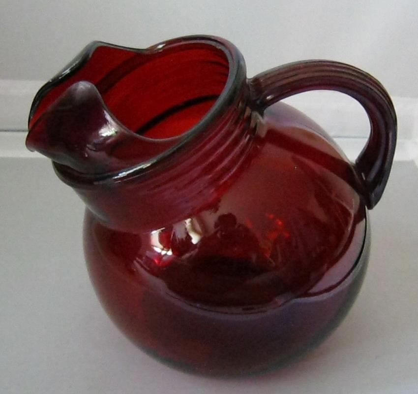 Anchor Hocking Ruby Red Glass Tilted Ball Pitcher w/Ice Guard Lip