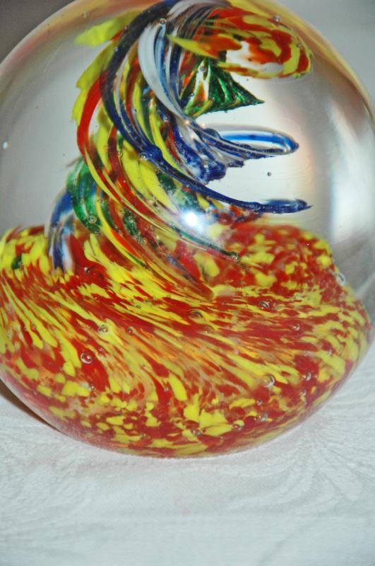 Large Art Glass Paperweight Hand Blown Yellow, Blue Red Corkscrew Swirl