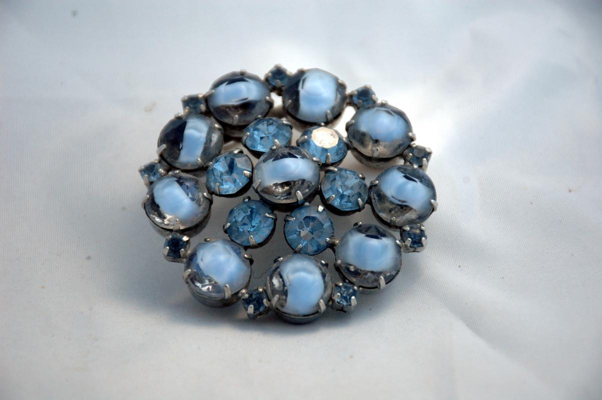 Shades of Blue &  Cased Clear Glass Large Rhinestones Brooch