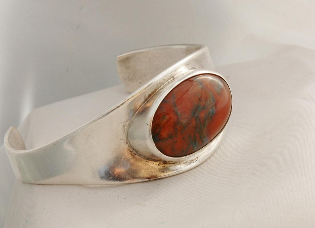 Bent Knudsen Modernist  Denmark Sterling Silver Bracelet #19 with stone
