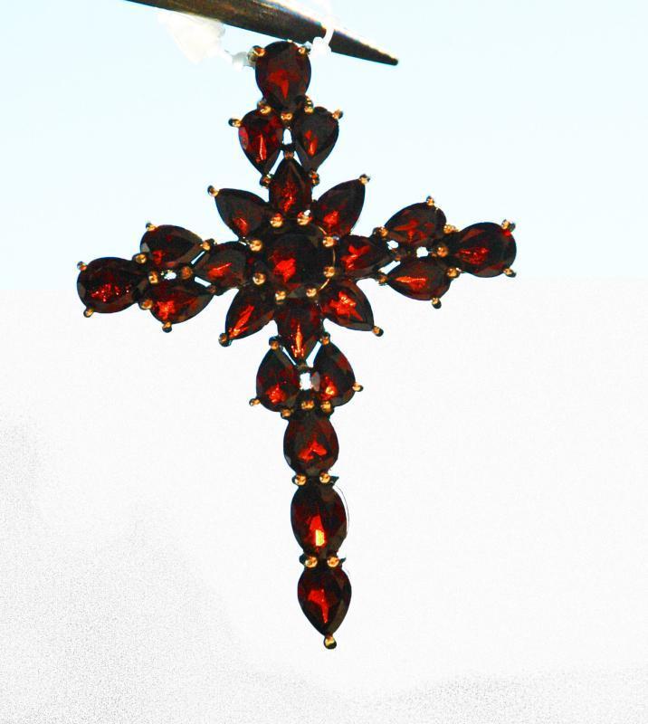 Sterling Silver Garnet Cross Massive  Cross Pendant 11.65 carats
