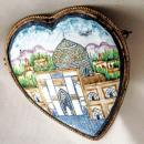 Isfahan Mosque hand painted enamel , Sterling Silver Heart Brooch Pin  Persian