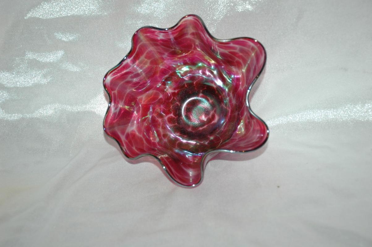 Mini Floppy Blowl Art Glass /Glass Eye Studio/ Cranberry Iridescent Rainbow