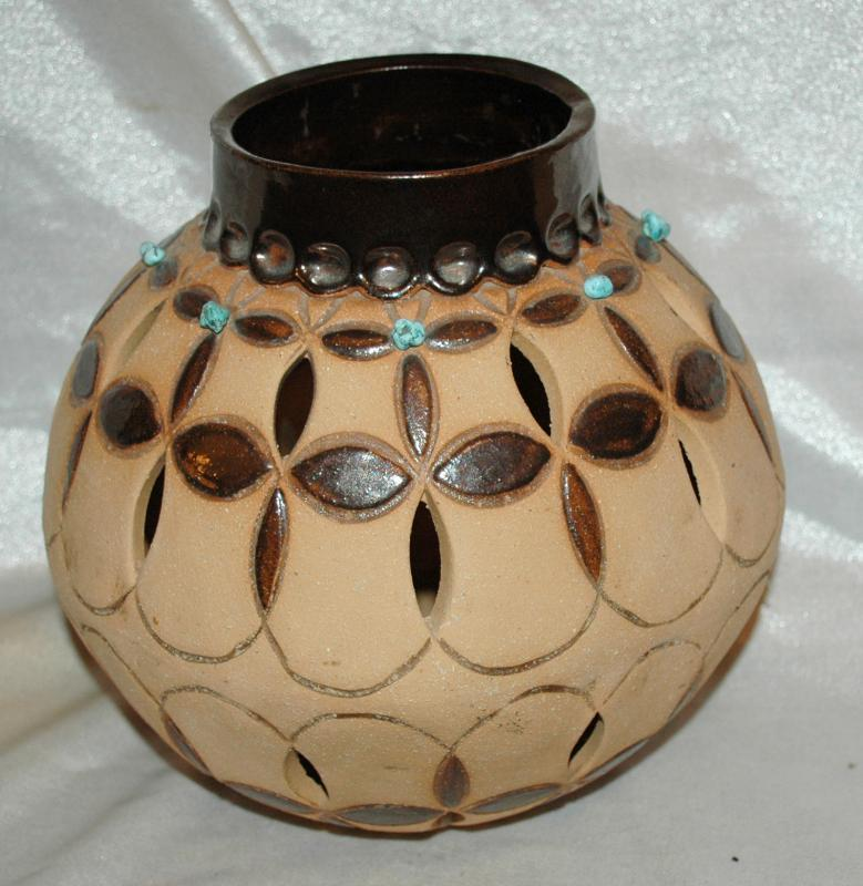 Large South Western Art Pottery Bowl with cut out and genuine Turquoise Stones