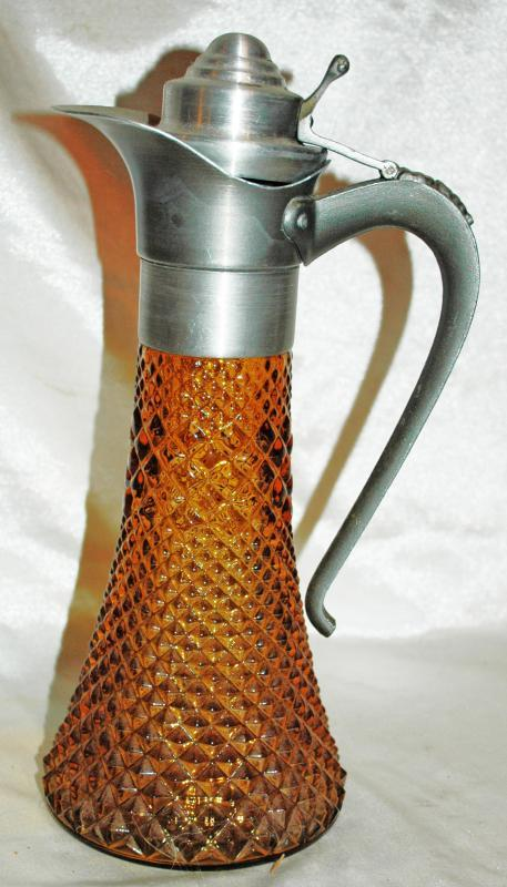 Antique Diamond  Pattern Pressed  Amber Glass  Ewer type  Pitcher with Pewter Lid and Handle
