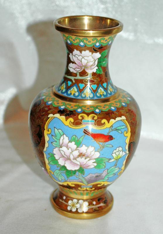 Oriental Cloisonne 2 panel Brass Vase with Bird on Branches & chrysanthemum