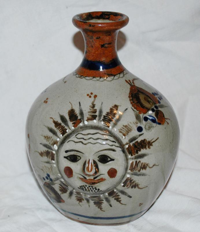 Large Sun Face ceramic stoneware vase from Tonala,Jalisco  9