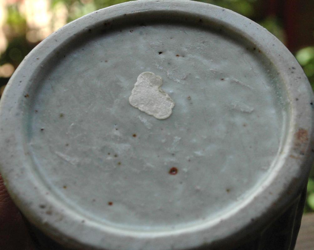 Stoneware Pottery Columnar  Cylinder Small Neck Bottle Vase blue/  rust /