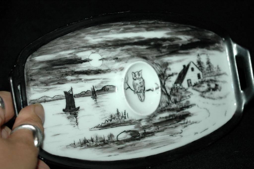 Thomas Bavaria M. Paddock Hand Painted Moon/ Landscape Owl Scene Tray RARE/ Unusual