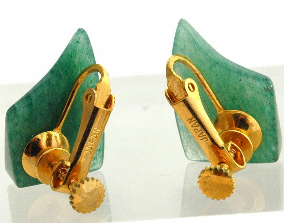 Carved Jadeite Earrings Gold  Clip On's Marked Japan  Kite Shapes
