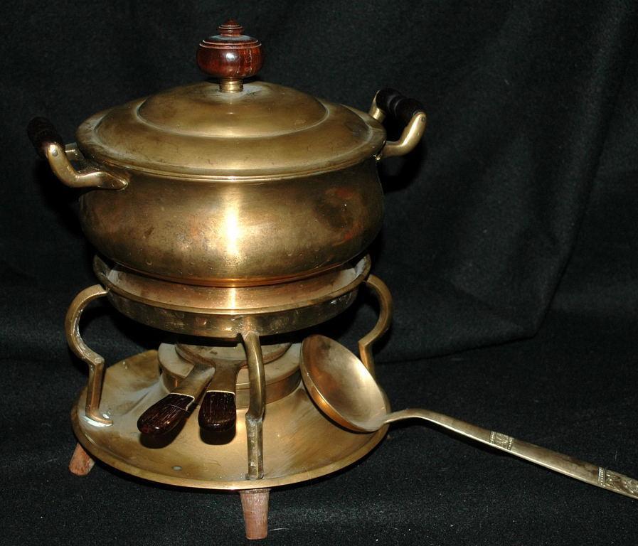 Vintage Solid  Brass Fondue Set / Complete / Wood handles