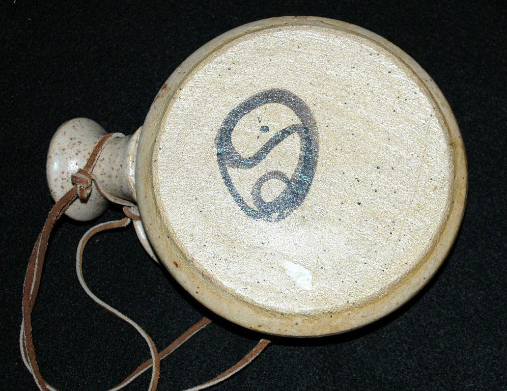 Stoneware Canteen / Flask  on Leather strap Art Pottery Signed