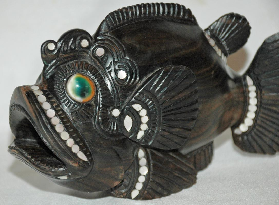 Ebony Wood Tribal Oceanic Art Hand Carved  Rock Fish  with Mother Pearl