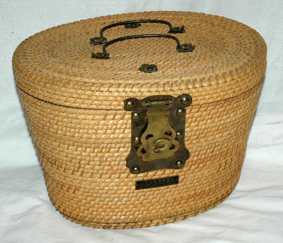 Antique Chinese Tea Basket , with padding and Brass Latches