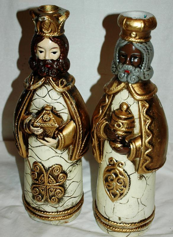 2 of 3 Wise Men Kings Papier , Paper Mache Candle Holders,Hand Crafted , Japan , Christmas Decor, Nativity