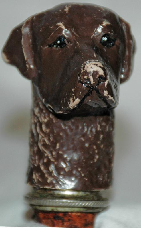 Antique Hound Dog Bottle Stopper , Cork with Chain