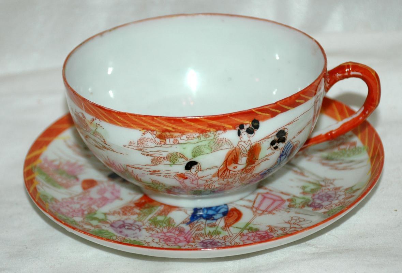 Egg Shell  Porcelain Japanese Geisha Girls Tea Cup Teacup and Saucer
