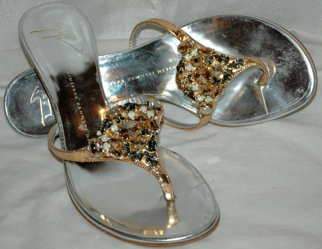 GIUSEPPE ZANOTTI DESIGN METALIC GOLD SILVER JEWELED HIGH HEAL SLIDES SANDAL THONG