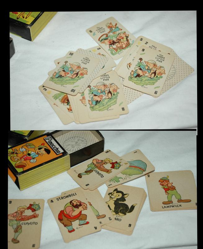 1940'S MICKEY MOUSE LIBRARY OF CARD GAMES RUSSELL MFG. CO. 6 GAME SET IN DISPLAY
