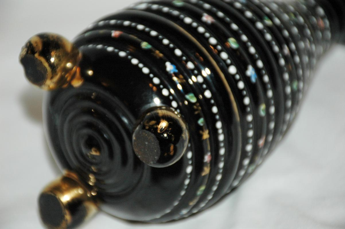 Footed   Black Glass Vase with Rows of Colored Raised Dots and Flowers