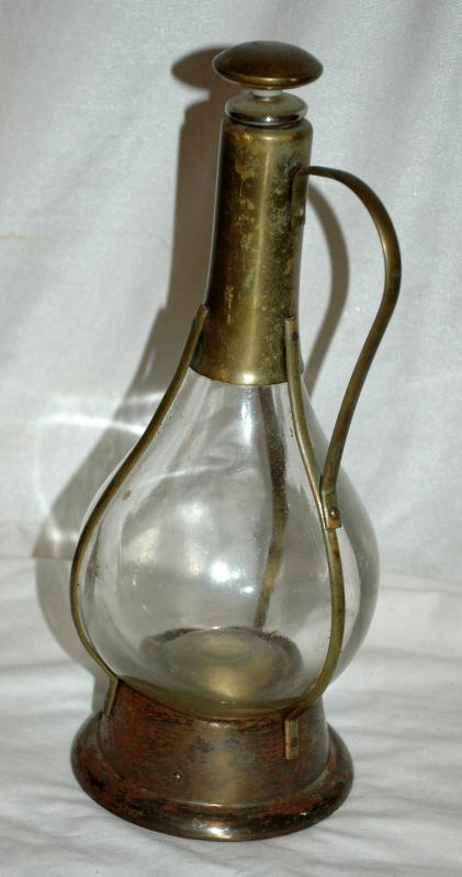 Caged in Brass, Glass Decanter with Music Box  Musical Decanter