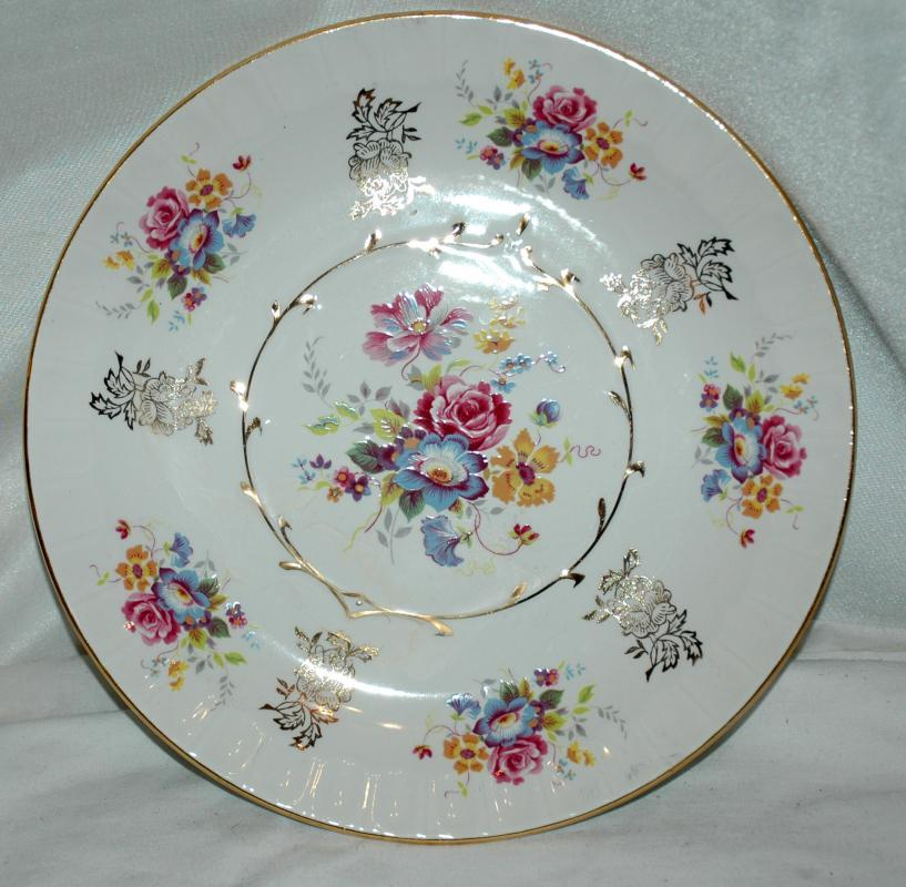 Avon by Wood & Sons Staffordshire England Hand Painted  Porcelian China Plate with Gold Trim and Flowers
