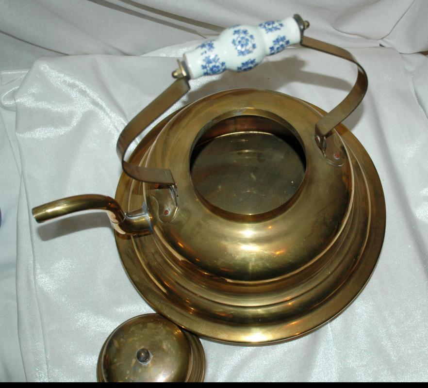 Ship's  Brass Tea Kettle, Broad Bottom with Dutch Porcelain Handle ( Very Large)