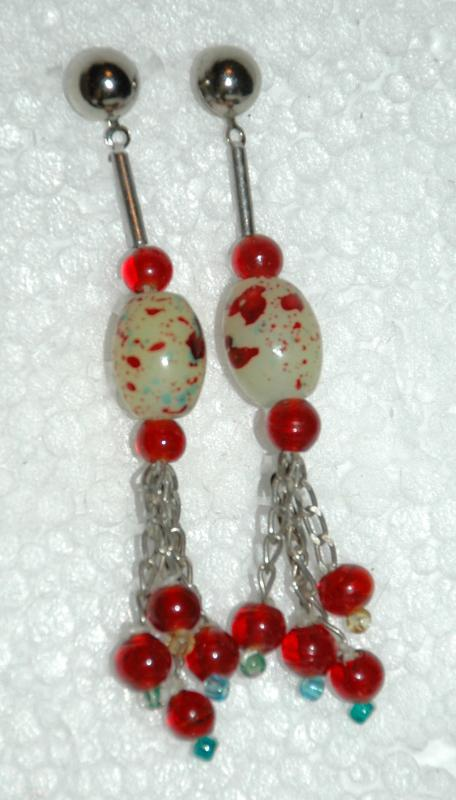 Custard Spatter Glass & Cherry Red Dangle Earrings Hand Crafted Designer From Vintage Beads